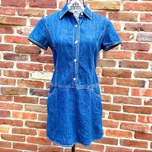 J. CREW Vintage Drop Waist Button Denim Mini Dress